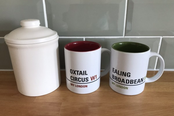 Cannister and mugs