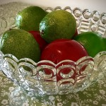 Glass bowl and fruit