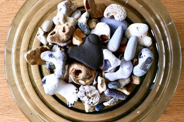 Stones in glass bowl